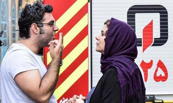 سحر دولتشاهی و مصطفی کیایی در نمایی از پشت صحنه «چهارراه استانبول»