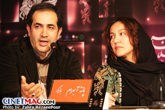 پانته آ بهرام و محمدرضا سکوت (مدیر فیلمبرداری) در نشست پرسش و پاسخ فیلم