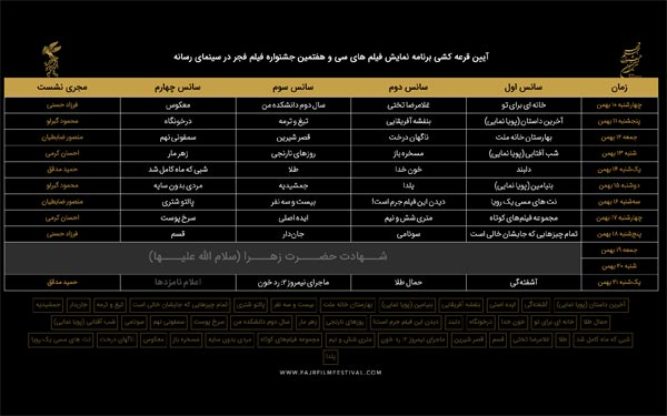 جدول نمایش فیلم ها در سینمای رسانه ها در سی و هفتمین جشنواره فیلم فجر