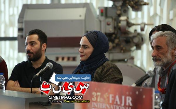 نرگس آبیار و نوید محمدزاده در نشست خبری داوران - سی و هفتمین جشنواره جهانی فیلم فجر /  عکس: پریسا فیض الهی