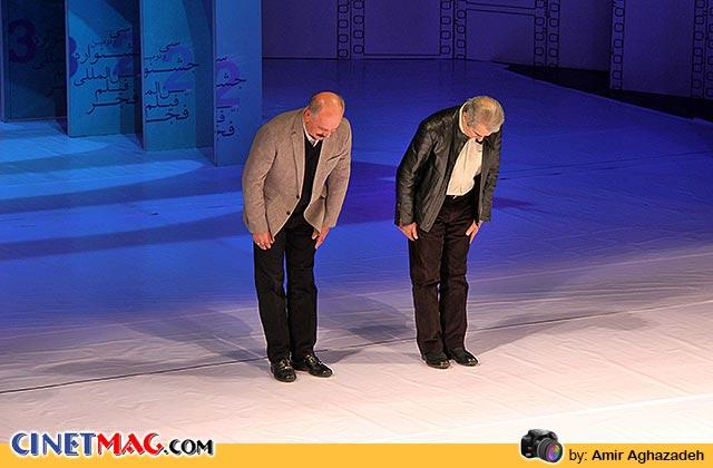 فرامرز قریبیان و سعید راد برای اهدای جوایز بخش مواد تبلیغی روی سن آمدند