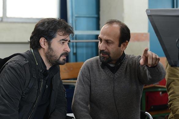 شهاب حسینی و اصغر فرهادی در پشت صحنه فیلم سینمایی