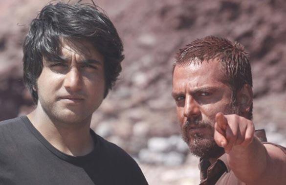 عباس غزالی و کریم لک زاده در پشت صحنه فیلم سینمایی