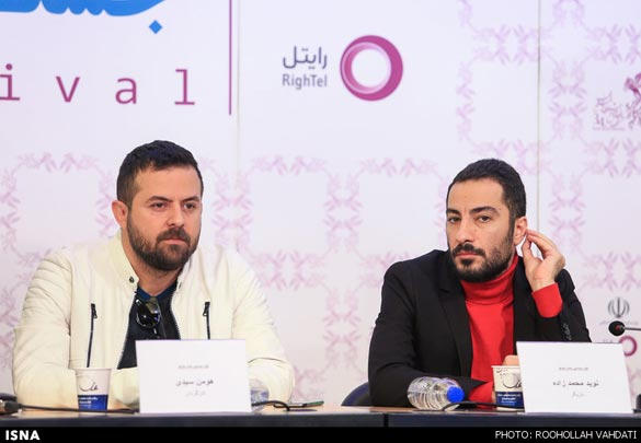 نوید محمدزاده و هومن سیدی در نشست خبری فیلم سینمایی